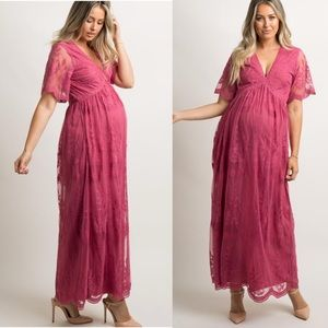 PinkBlush Pink Lace Overlay Maternity Maxi Dress